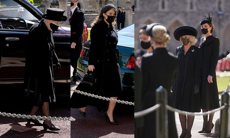 Queen Elizabeth, Princess Eugenie, Camilla and Catherine arrives for the funeral service of Prince Philip.