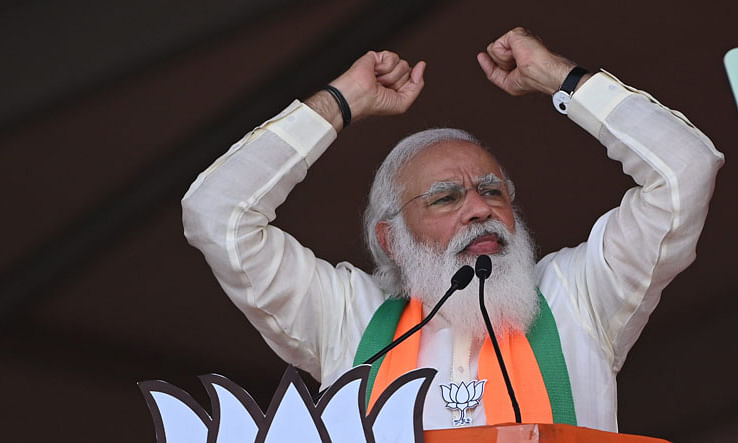 BJP has already completed century in Bengal polls, Mamata clean bowled: Modi