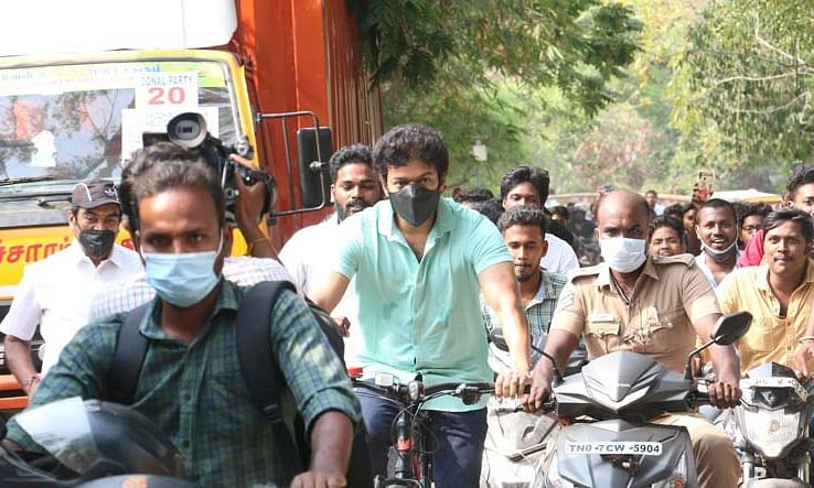 Watch: Actor Vijay cycles to polling booth to cast his vote