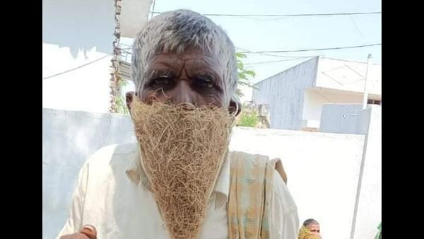 Telangana shepherd uses bird's nest as face mask to visit pension office, photo goes viral
