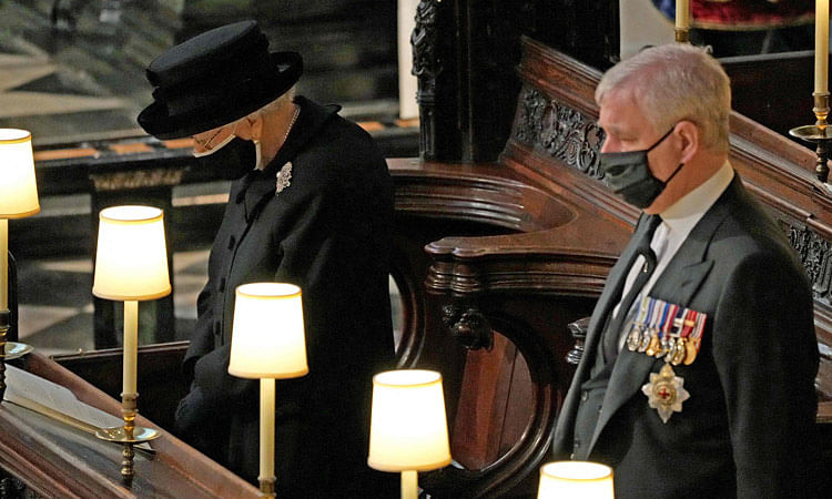 Queen Elizabeth II and Prince Andrew attend the funeral service of Prince Philip.
