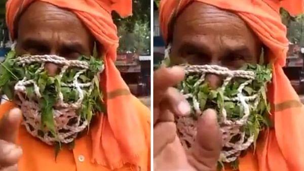 Herbal Jugaad: Sadhu wears mask made of 'neem and tulsi leaves', 'natural mask' impresses netizens