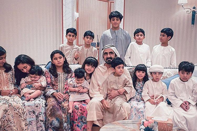 Sheikh Mohammed dotes on his grandchildren