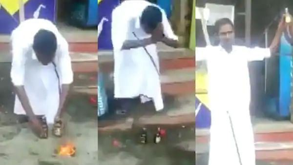 Man performs 'aarti' in front of alcohol bottles as shops reopen in Tamil Nadu