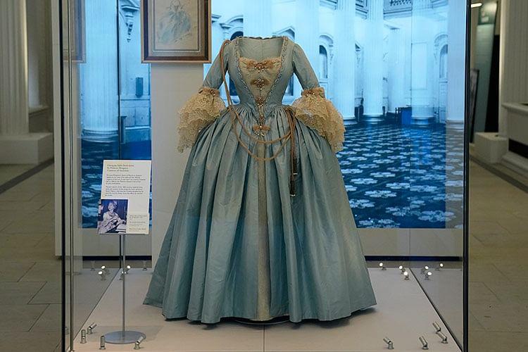 A Georgian style dress worn by Princess Margaret, the sister of Britain's Queen Elizabeth II.