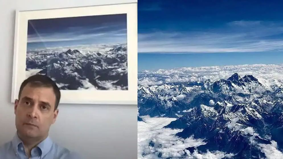 The photo of snow-covered Mount Everest behind Rahul Gandhi during live video session goes viral