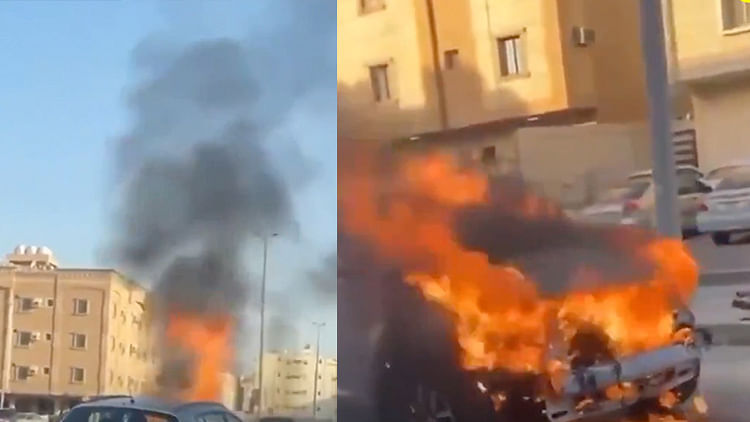 Saudi man risks own life, steers burning car out of parking lot