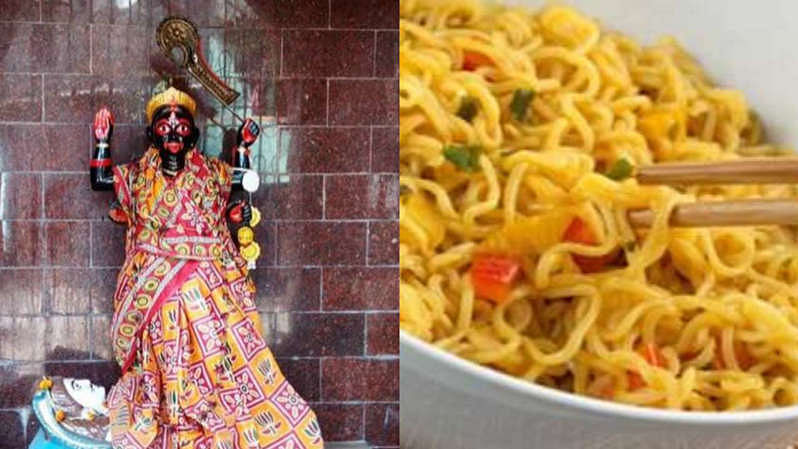 This temple in India serves noodles, chop suey, sticky rice as prasad - Check out its location