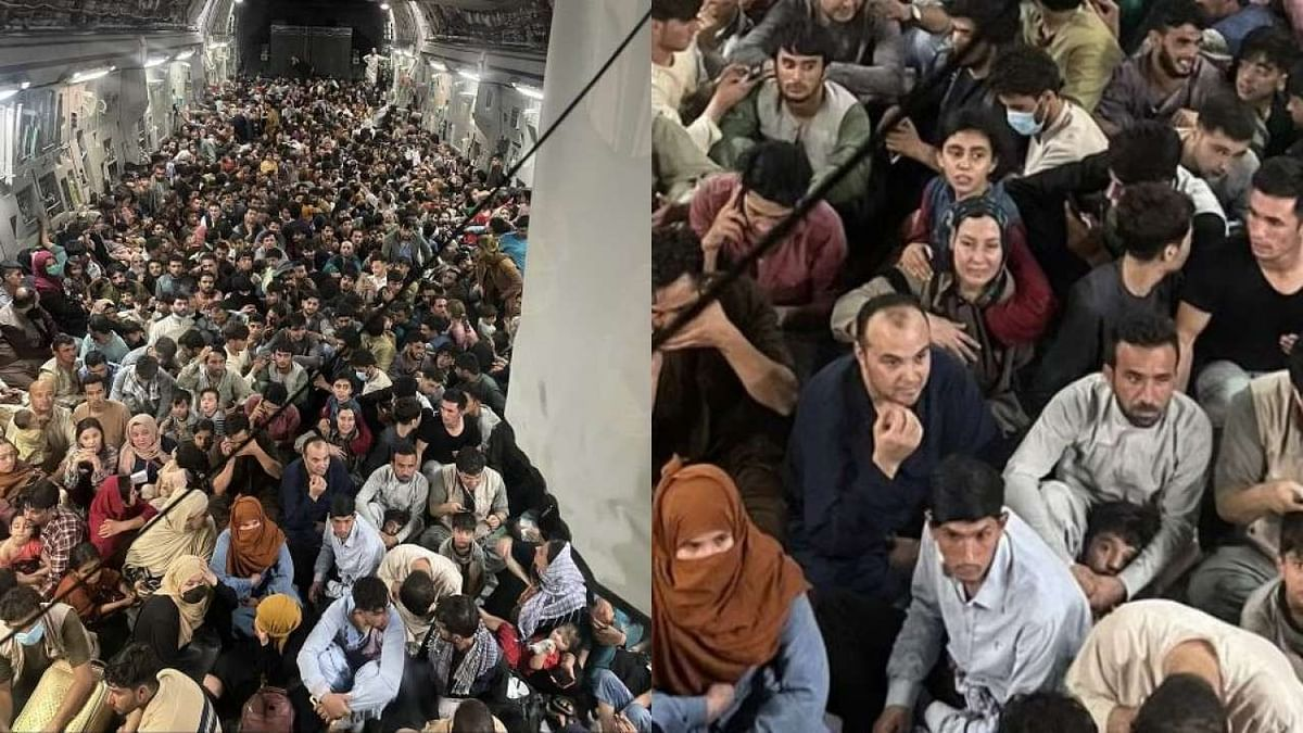 Photo of 640 Afghans packed inside US Air Force cargo plane leaving Afghanistan goes viral