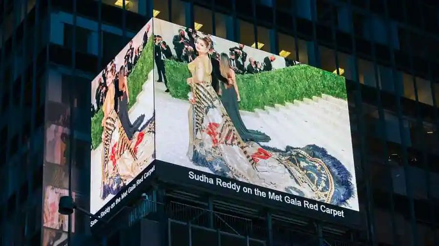 After Met Gala, Sudha Reddy makes it to Times Square billboard in NYC