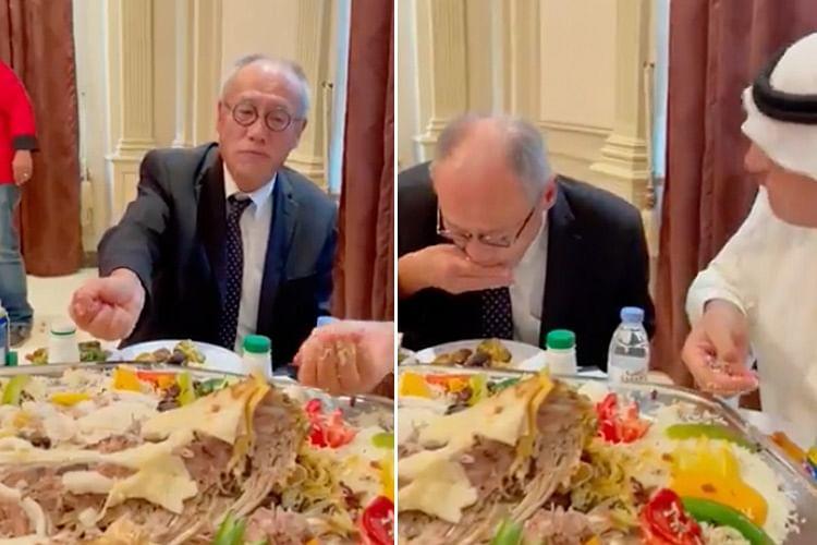 Japanese envoy Fumio Iwai eats Saudi dish the traditional way, gets applauded