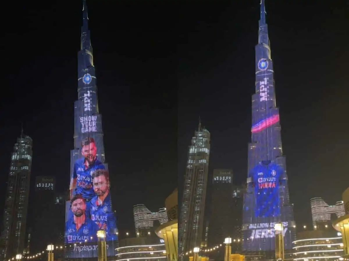 Burj Khalifa lights up to display team India's new jersey for T20 World Cup