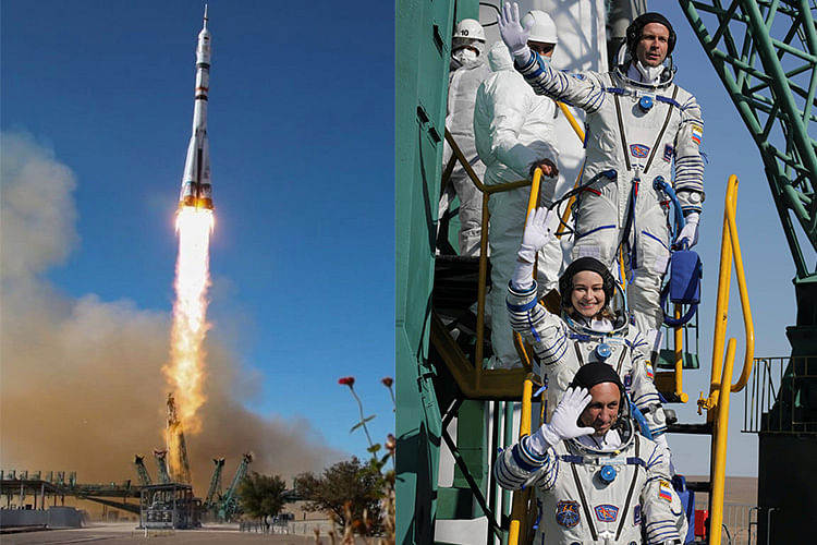 Welcome to the ISS: Russian crew arrives at space station to make world's first movie in orbit