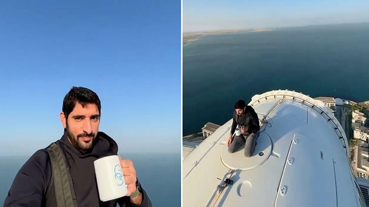 Sheikh Hamdan enjoys a coffee on top of Ain Dubai 250m off the ground