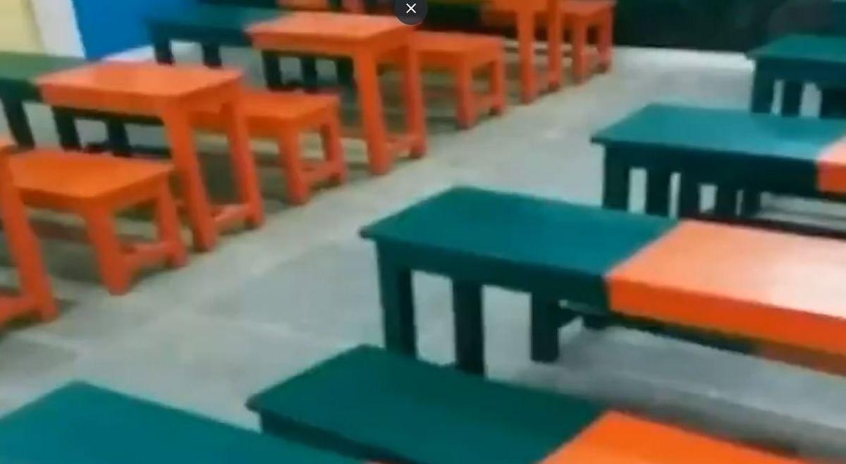 பா.ஜ.க கொடி வண்ணம் பூசப்பட்ட  அரசு பள்ளி இருக்கைகள்! கடும் எதிர்ப்பை அடுத்து அகற்றம்