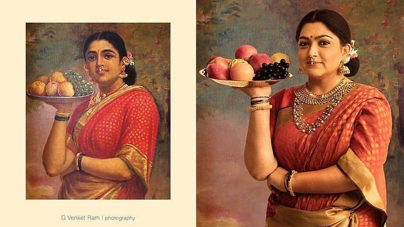 """""""ரவிவர்மாவின் ஓவியங்களாக மாறிய நடிகைகள்"""" : சமந்தா, ஸ்ருதிஹாசன், குஷ்பூ என வைரலாகும் புகைப்படங்கள்!"""