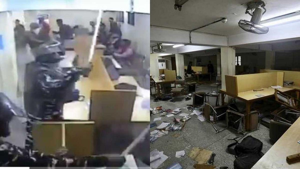 படித்துக்கொண்டிருந்த மாணவர்களை தாக்கிய பா.ஜ.க குண்டர்கள் : ஜாமியா மாணவர்கள் வெளியிட்ட CCTV காட்சி !