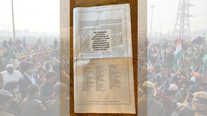"""""""உங்கள் குரல்கள் உலகம் முழுவதும் எதிரொலிக்கின்றன"""" :  விவசாயிகளுக்கு ஆதரவாக New York Times-ல் விளம்பரம்!"""
