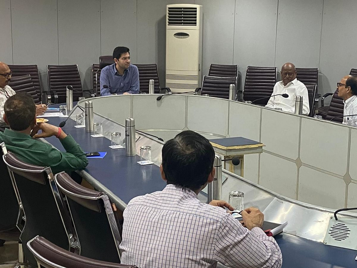 Raghav Chadha in a meeting with DJB senior officials