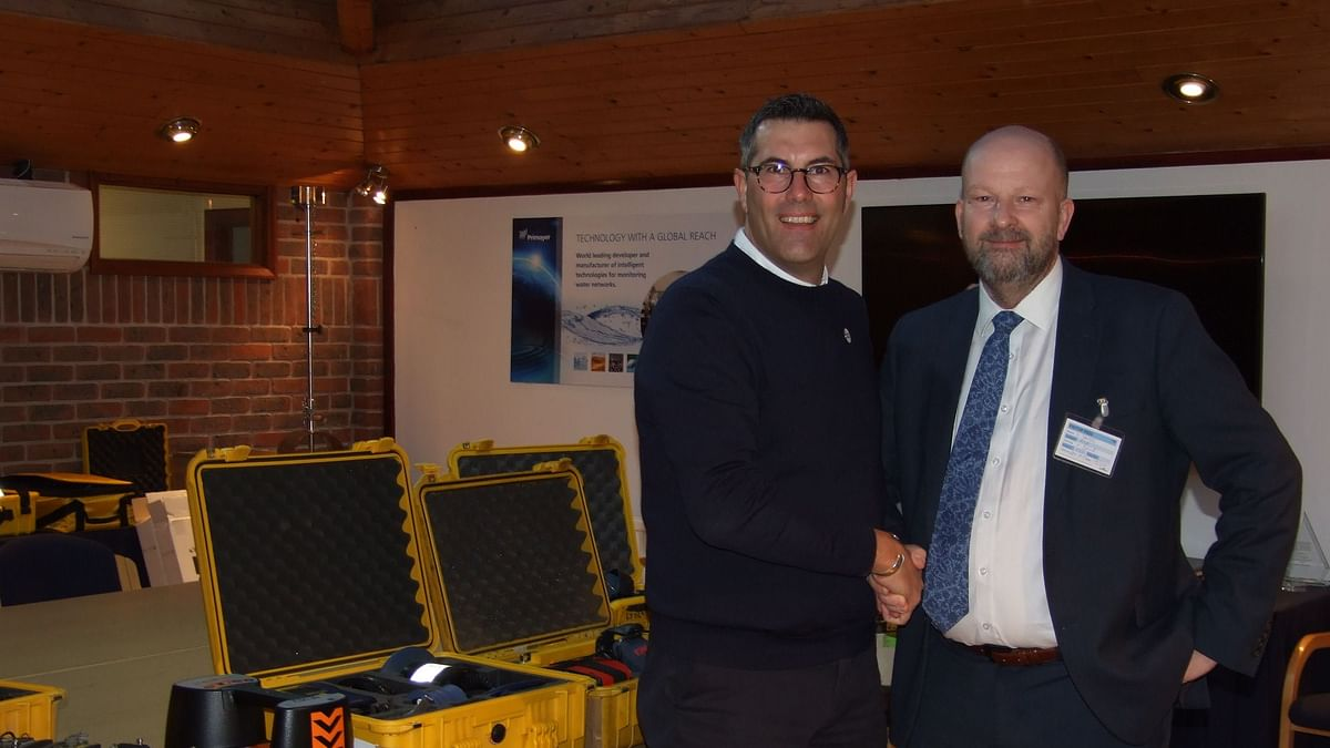 Ovarro UK sales director Kevin Brook and Anglian Water's Andy Smith prepare the equipment for transportation to Nepal