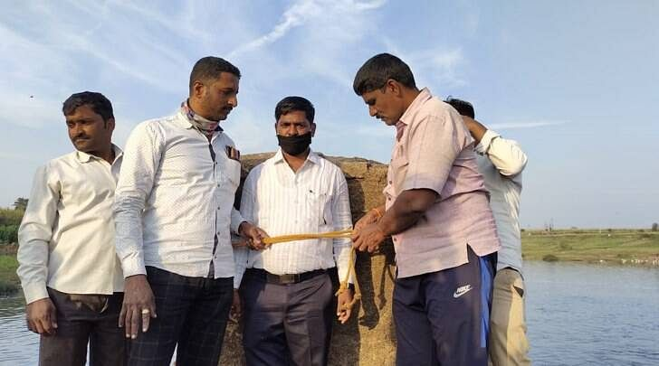 MPCB regional officer Sachin Harbad was tied up to a stone structure