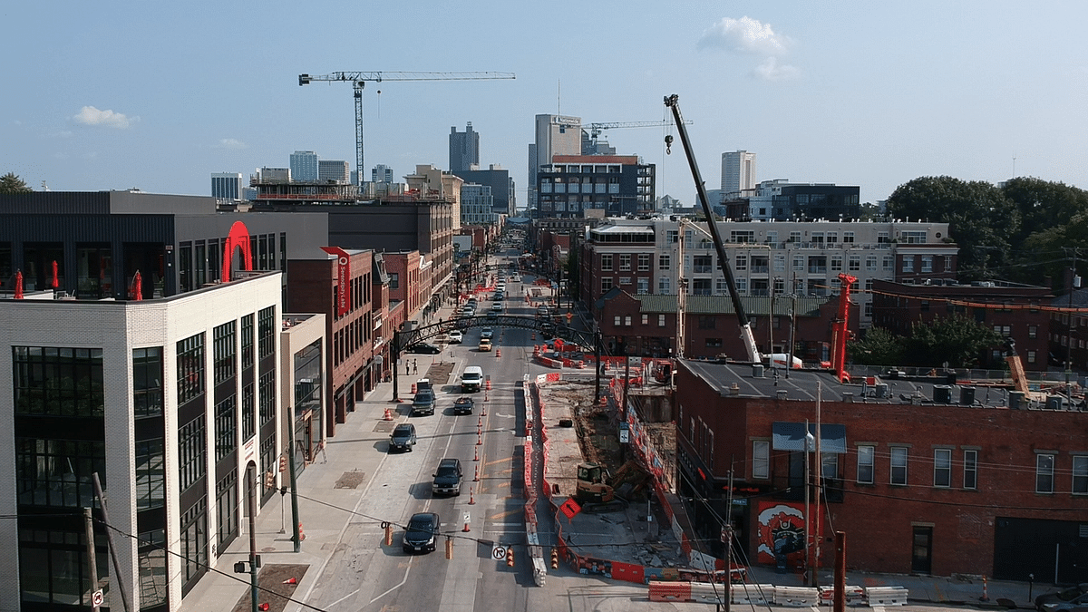 New buildings and construction sites line either side of High Street just past 1st Avenue in the Short North on Aug. 14, 2018.