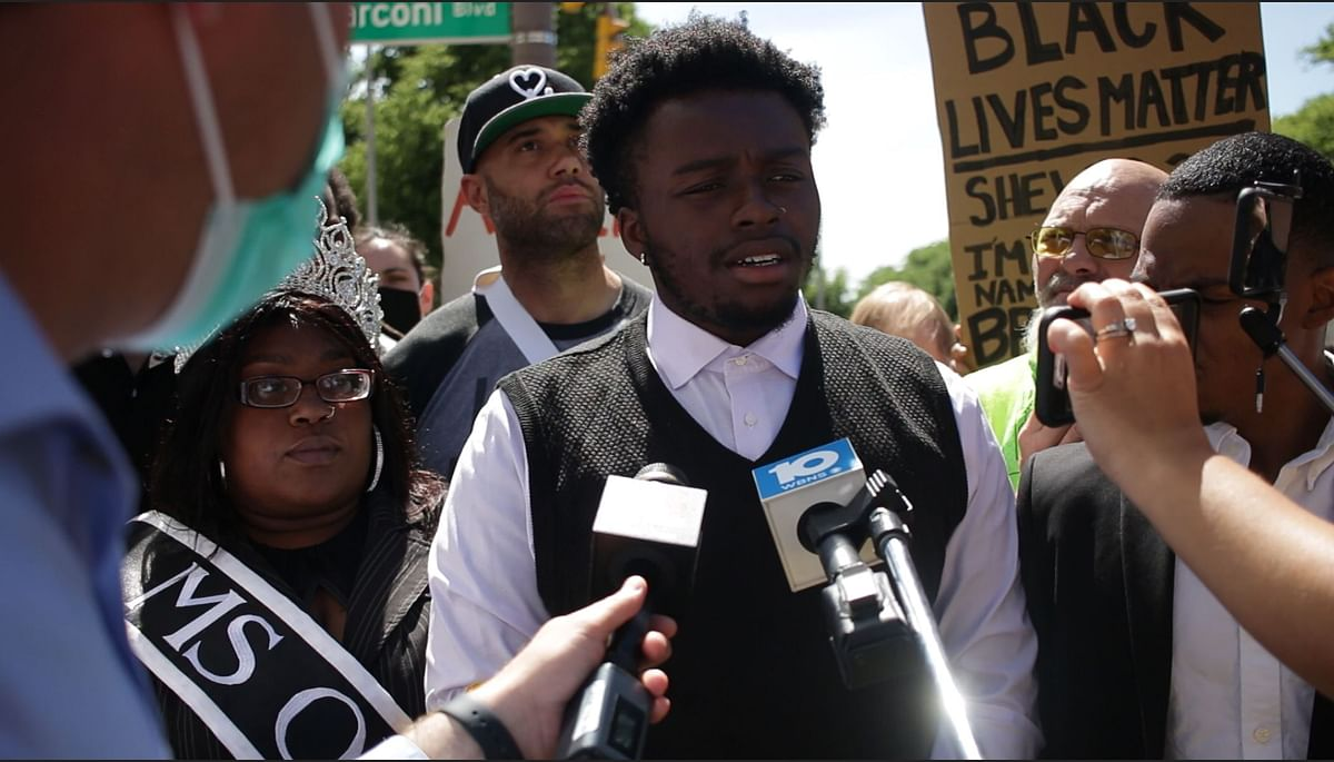 Earl Louis Jones, leader of Black Freedom, address a crowd of protesters and media after meeting with Deputy Chief Jennifer Knight at the Columbus police headquarters downtown on June 8, 2020.