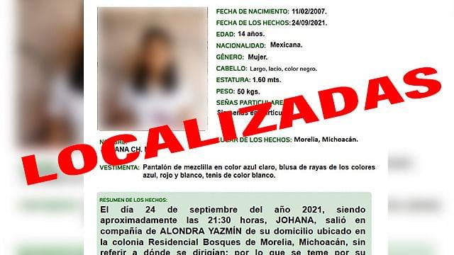 Localizan en Apatzingán a dos adolescentes desaparecidas en Morelia