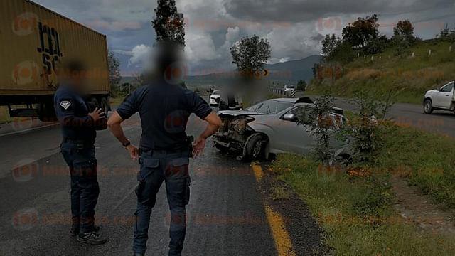 Volcadura automovilística deja 4 heridos en la Morelia-Pátzcuaro