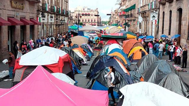 Continúa CNTE con protestas en Morelia ante falta de pagos
