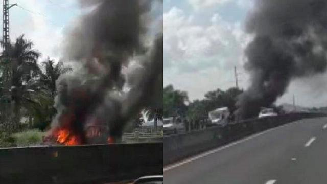 Camioneta se incendia por falla mecánica en carretera de Michoacán