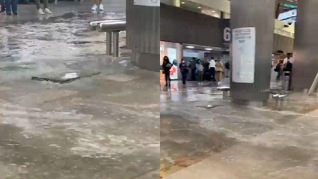 Por intensas lluvias, se generan ríos y brotan alcantarillas en el AICM
