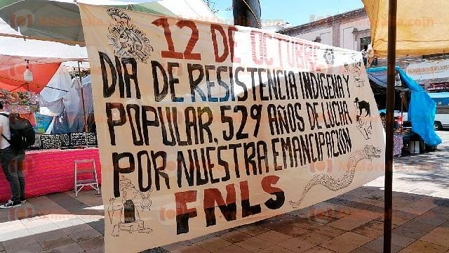 En repudio al Día de la Raza, FNLS mantendrá plantón en centro de Morelia