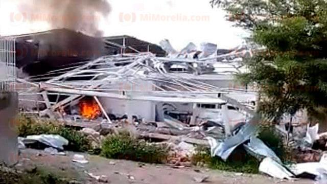Se registra explosión en bodega en Tepalcatepec