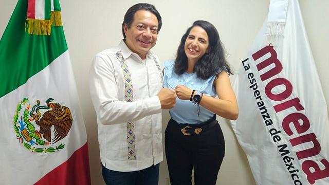 Presenta Mario Delgado a Giulianna Bugarini como dirigente de Morena en Michoacán