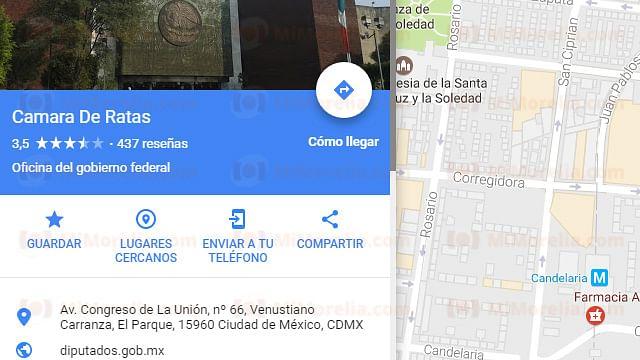 """Cámara de Diputados aparece como """"Cámara de Ratas"""" en Google Maps"""