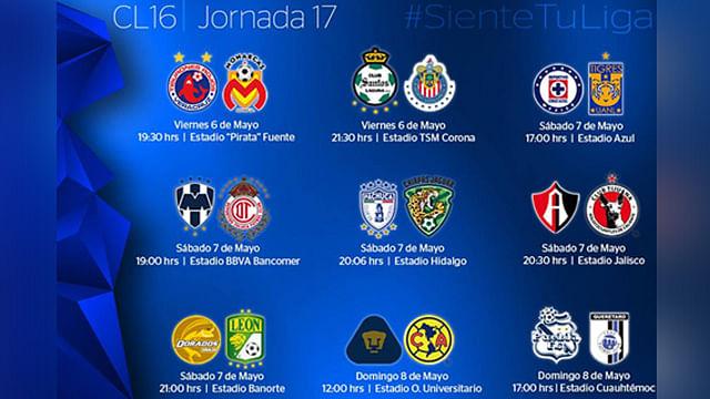 Horarios y partidos de la Jornada 17 del Clausura 2016