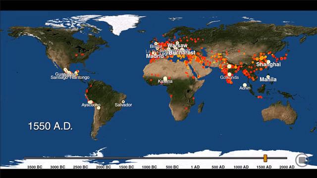 Mapa interactivo muestra el avance de la urbanización mundial desde hace 6 mil años