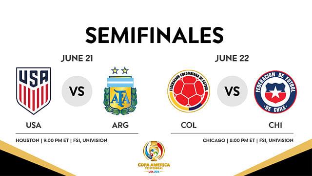 Fechas y horarios de las Semifinales de la Copa América Centenario