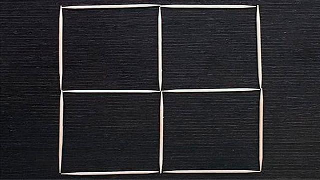 Reto: ¿Puedes convertir cuatro cuadrados en tres, moviendo solo tres palillos?