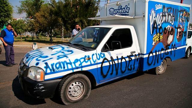 La unidad fue grafiteada por normalistas (Foto: ACG)