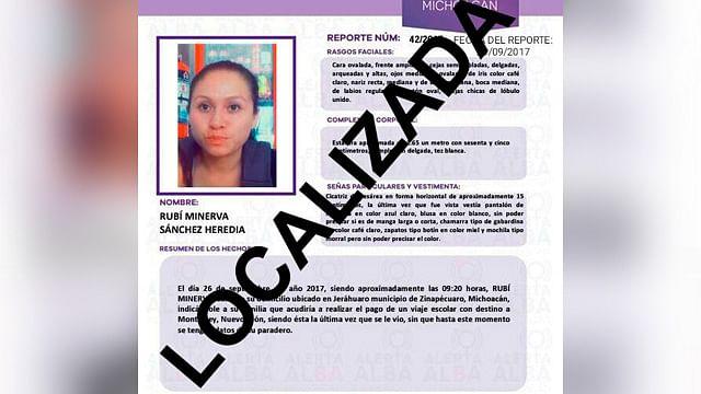 Hallan en Perú a nicolaita reportada como desaparecida en Zinapécuaro