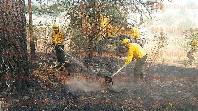 Arden tres cerros en Michoacán, brigadistas suman esfuerzos