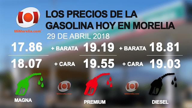 Éstos son los precios de la gasolina hoy 29 de abril en Morelia