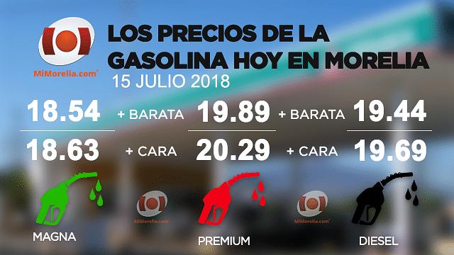 Conoce el precio de la gasolina este domingo en Morelia