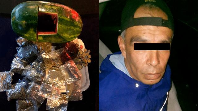 Descubren marihuana escondida en una sandía en la CDMX