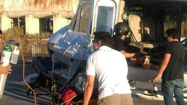 Trasladan en helicóptero a recién nacido a Morelia