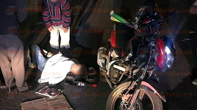 Motociclista sufre accidente y queda herido sobre la Morelia-Mil Cumbres