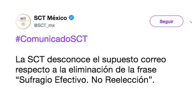 """Rechaza SCT eliminación de frase """"sufragio efectivo, no reelección"""""""