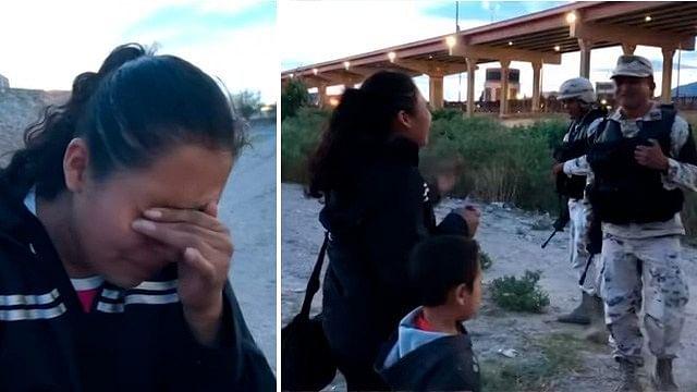 Llorando, migrante pide a la Guardia Nacional que la dejen cruzar a EU